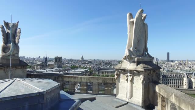 height view of paris - notre dame de paris stock videos & royalty-free footage