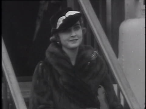 heiress barbara hutton returns to the united states after extensive honeymoon travels abroad she is unaccompanied by prince mdivani her georgian... - eastern usa stock videos and b-roll footage