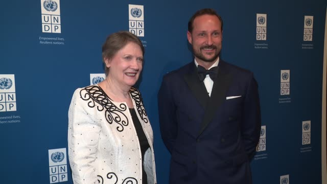 helen clark and his royal highness crown prince haakon of norway at united nations development programme inaugural global goals gala a night for... - crown prince stock videos & royalty-free footage