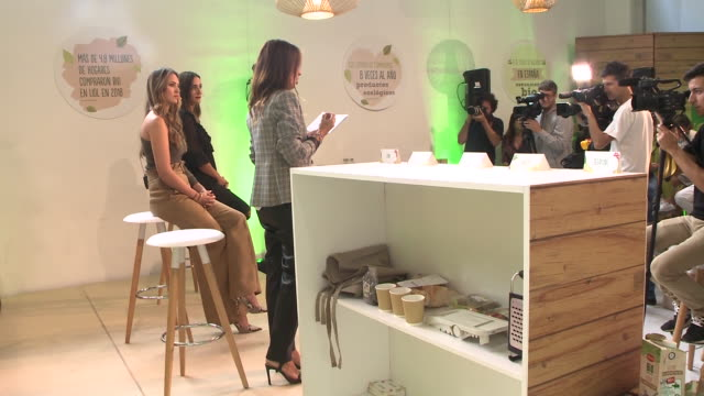 helen lindes presents 'bio organic by lidl' in madrid - ヘレン リンデス点の映像素材/bロール
