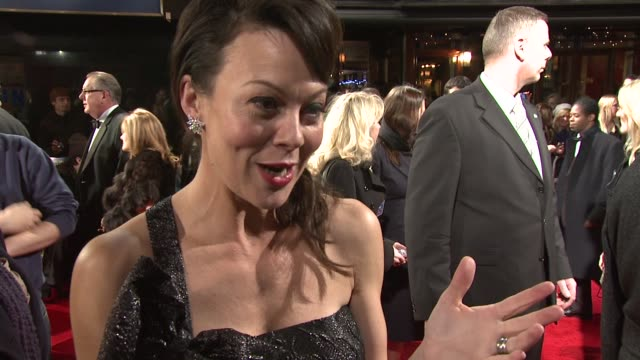 helen mccrory on getting involved in the film and being ecited anpout working with scorsese at the royal film performance of 'hugo' at london england. - ヘレン マックローリー点の映像素材/bロール