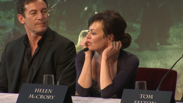 helen mccrory on her favorite line from the films at the harry potter & the deathly hallows part 2 press conference at london england. - ヘレン マックローリー点の映像素材/bロール