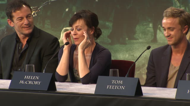 helen mccrory on her favorite prop from the film at the harry potter & the deathly hallows part 2 press conference at london england. - ヘレン マックローリー点の映像素材/bロール