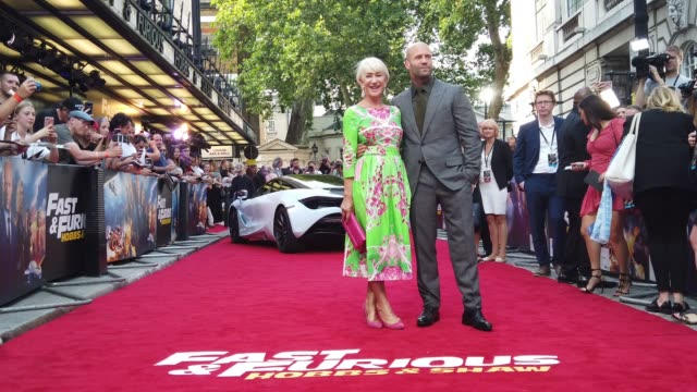 vidéos et rushes de helen mirren and jason statham attend the fast & furious hobbs & shaw special screening at curzon cinema mayfair on july 23, 2019 in london, england. - helen mirren