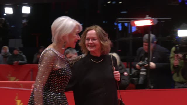 helen mirren and karin buchholz pose at the homage helen mirren honorary golden bear award ceremony during the 70th berlinale international film... - film award type stock videos & royalty-free footage