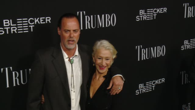 helen mirren and rio hackford at the trumbo los angeles premiere at the academy of motion picture arts and sciences on october 27 2015 in beverly... - academy of motion picture arts and sciences stock-videos und b-roll-filmmaterial
