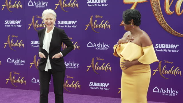 helen mirren and tatyana ali at the world premiere of disney's aladdin on may 21 2019 in hollywood california - tatyana ali stock videos & royalty-free footage