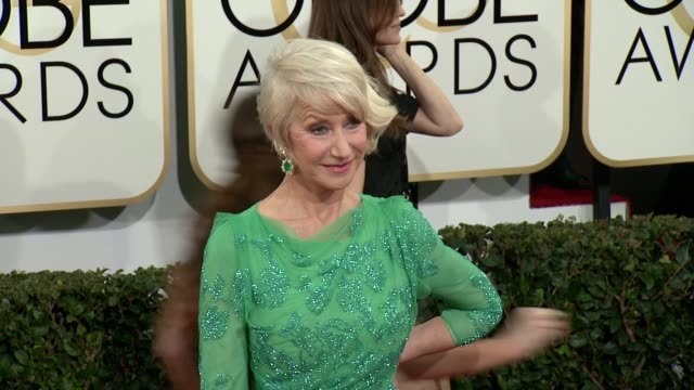 helen mirren at 71st annual golden globe awards - arrivals at the beverly hilton hotel on in beverly hills, california. - helen mirren stock videos & royalty-free footage