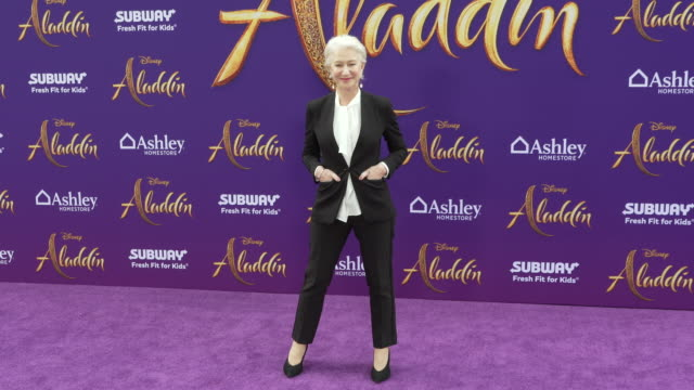 """helen mirren at the world premiere of disney's """"aladdin"""" on may 21, 2019 in hollywood, california. - helen mirren stock videos & royalty-free footage"""