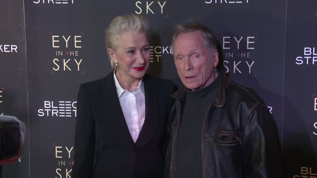helen mirren dick cavett at eye in the sky new york premiere at amc loews lincoln square 13 theater on march 9 2016 in new york city - amc loews stock videos and b-roll footage