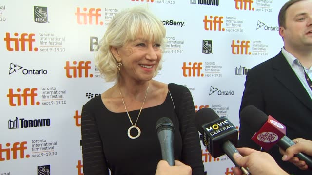 helen mirren on having two films at tiff, if she is enjoying the festival and working with tom wilkinson. at the 2010 toronto international film... - トム ウィルキンソン点の映像素材/bロール