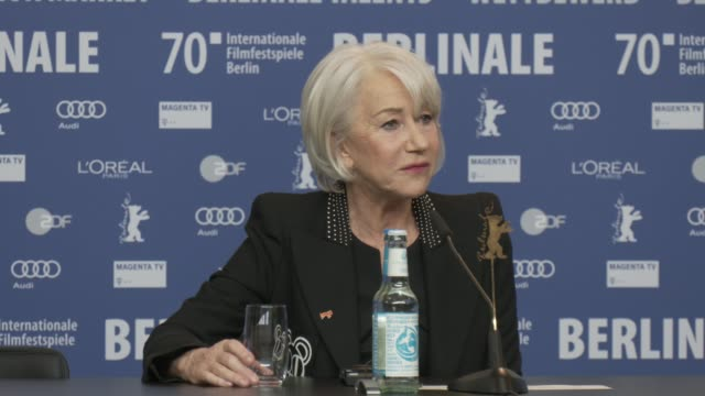 vídeos de stock e filmes b-roll de interview helen mirren on her best favourite work 'love ranch' vin diesel as a movie star on how she chooses to read scripts at 'honorary golden bear... - resolução 4k