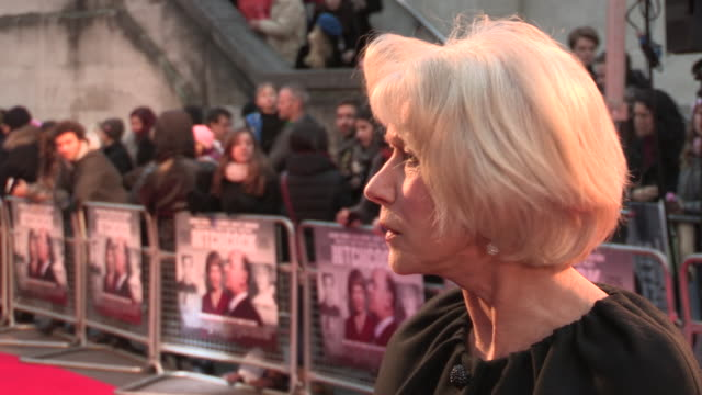 helen mirren on the make-up of anthony hopkins, on her preparation for the movie and on her plans for christmas at 'hitchcock' uk premiere at bfi... - bfi southbank stock videos & royalty-free footage