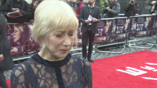 INTERVIEW Helen Mirren on women in the military Colin Firth as her boss at Eye in the Sky Premiere at The Curzon Mayfair on April 11 2016 in London...