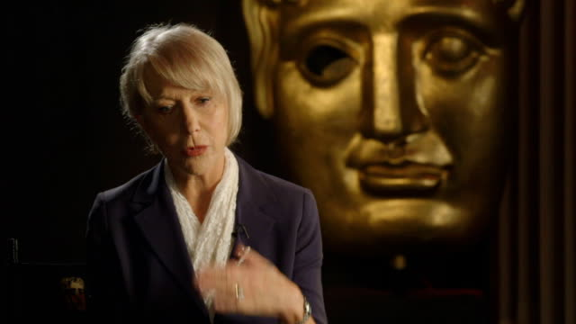 helen mirren to be awarded bafta fellowship; mirren interview sot - film award type stock videos & royalty-free footage