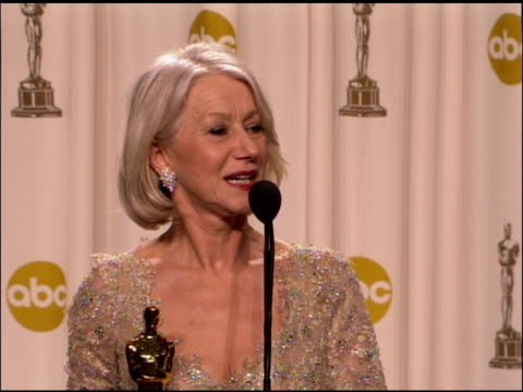 helen mirren, winner best actress in a leading role for �the queen� at the 2007 academy awards at the kodak theatre in hollywood, california on... - academy awards stock videos & royalty-free footage