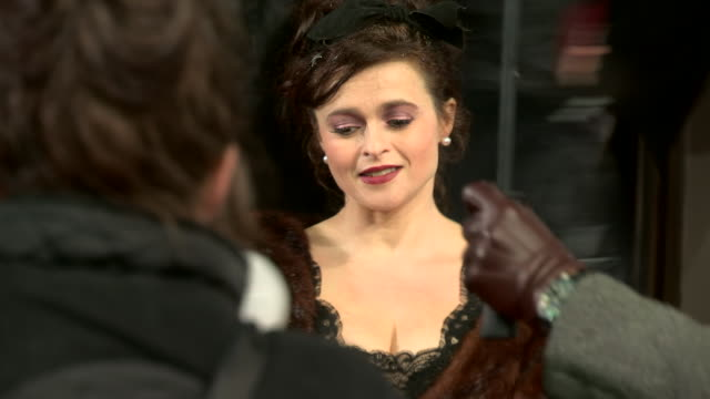 helena bonham carter at ee british academy film awards 2013 red carpet arrivals at the royal opera house on february 10, 2013 in london, england - hair accessory stock videos & royalty-free footage