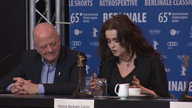 helena bonham carter on her character, playing the fairy godmother, improvising on set at 'cinderella' press conference - 65th berlin film festival... - シンデレラ点の映像素材/bロール