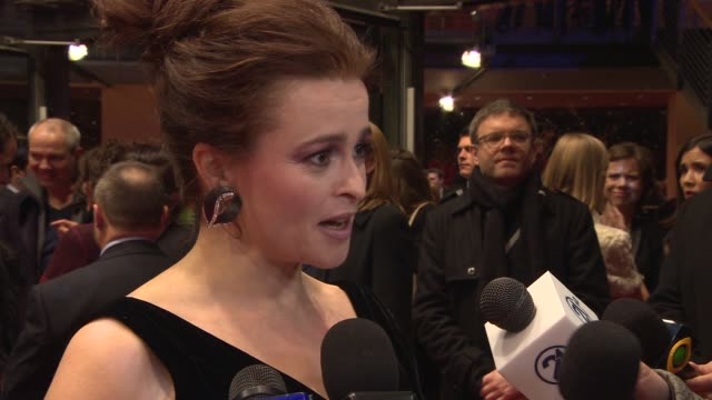helena bonham carter on playing a small part but a big role, glass shoe at 'cinderella' red carpet - 65th berlin film festival at berlinale palace on... - シンデレラ点の映像素材/bロール
