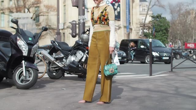 stockvideo's en b-roll-footage met helena bordon wears khaki pants a white turtle neck outside the miu miu show during paris fashion week womenswear fall/winter 2017/2018 on march 7... - coltrui