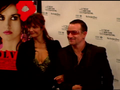 Helena Christensen and Bono at the 'Volver' NYFF Premiere arrivals at Alice Tully Hall at Lincoln Center in New York New York on October 7 2006