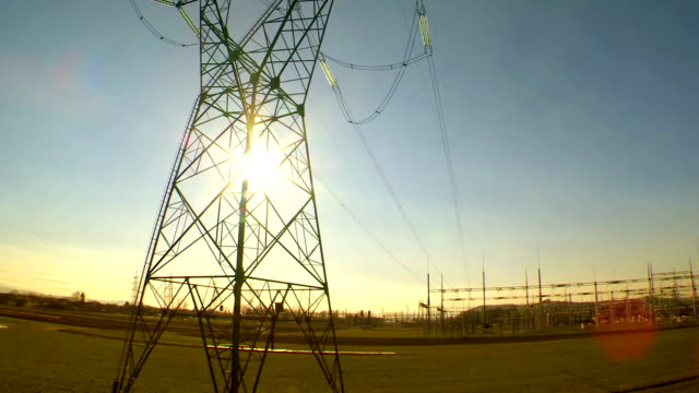 Heli Shot Of Transmission Tower At Sunset