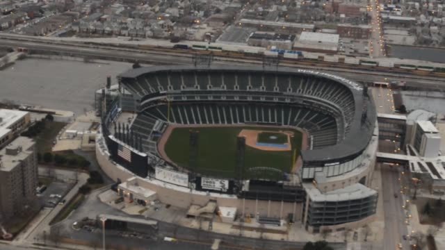 Helicopter Aerial Footage of Downtown Chicago Illinois The helicopter circles around US Cellular Field Chicago Illinois Aerials US Cellular Field on...