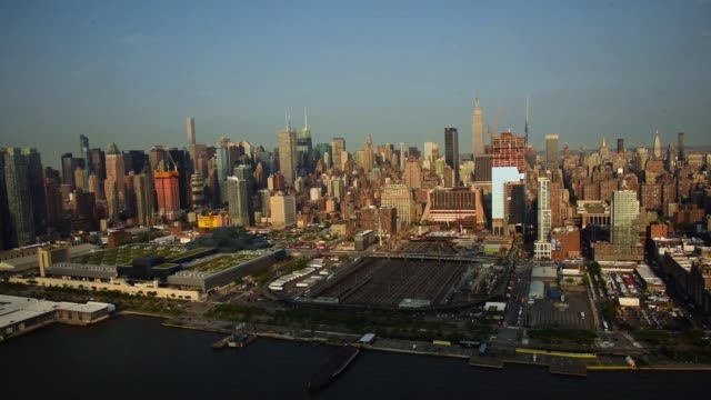Helicopter Aerial shots over New York City look down at cityscape activity on June 18th 2015 Shots Aerial shots midtown Manhattan during the day...