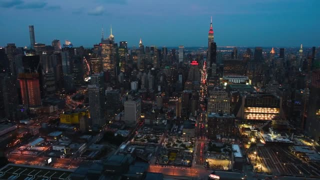 Helicopter Aerial shots over New York City look down at cityscape activity on June 18th 2015 Shots Aerial shots of the midtown Manhattan skyline at...