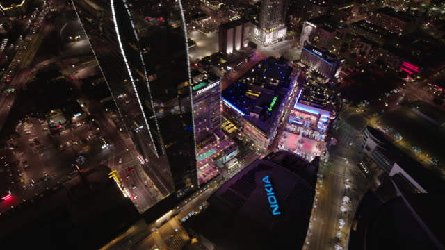 Helicopter aerial, wide angle view, flying around The Nokia Center, LA Live, The JW Marriott and The Ritz-Carlton Hotels.
