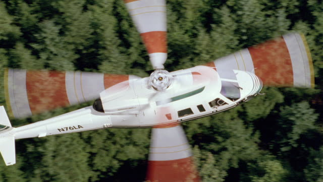 a helicopter flies over a dense forest. - propeller stock videos & royalty-free footage
