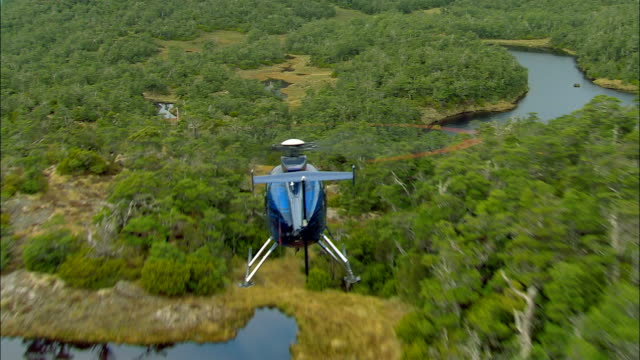 air to air, helicopter flying above forest and mountain lakes, fiordland national park, new zealand - helikopter bildbanksvideor och videomaterial från bakom kulisserna