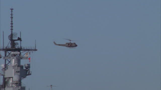 la, ws, helicopter flying over uss missouri - uss missouri stock videos and b-roll footage