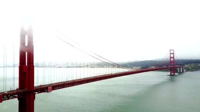4k helicopter footage of the golden gate bridge - overcast stock videos & royalty-free footage
