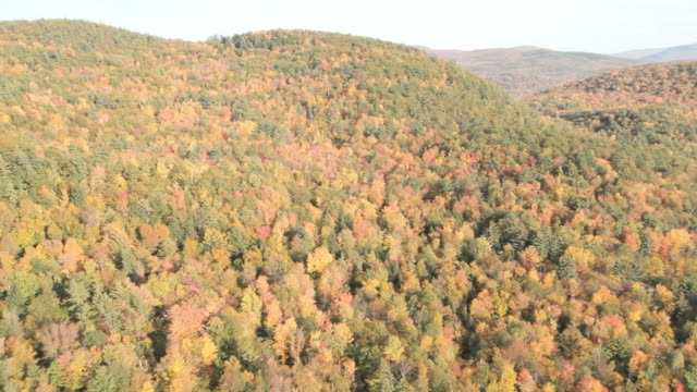 Helicopter footage over the green mountains of Vermont in the fall.