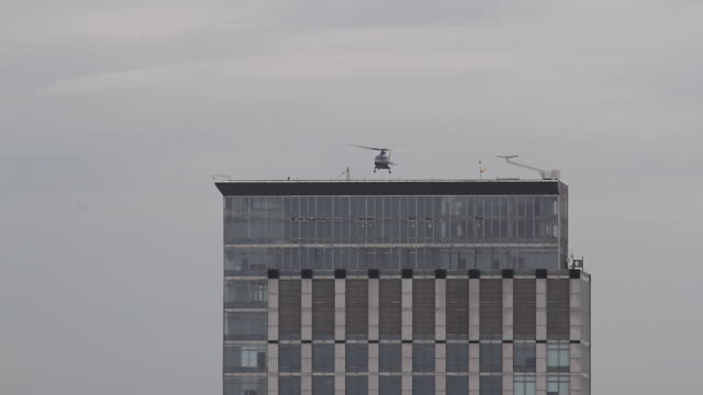 helicopter landing on top of a building - sao paulo, brazil - helicopter landing stock videos and b-roll footage