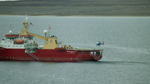 helicopter lands aboard research ship - ernest shackleton stock videos & royalty-free footage