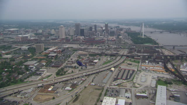 AERIAL WS TS Helicopter moving over city / St Louis, Missouri, United States