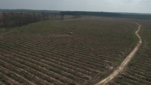 vídeos y material grabado en eventos de stock de helicopter over trees spraying field - drone aerial 4k air to air filming of aerobatic helicopter spraying pesticide and insecticide on crops and trees for the production of various agriculture needs 4k transportation - insecticida