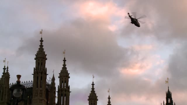 helicopter over westminster palace in london - propeller stock videos & royalty-free footage