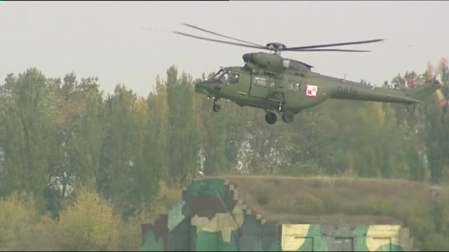 helicopter pzl w-3 sokol landing - military helicopter stock videos & royalty-free footage