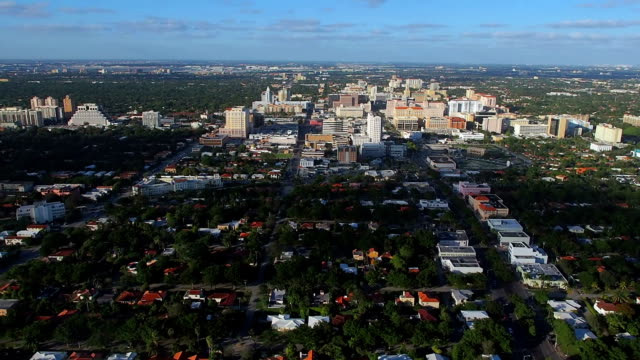 helicopter ride from coconut grove to coral gables - grove stock videos & royalty-free footage