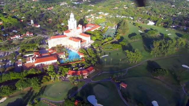 helicopter ride near historic biltmore hotel coral gables florida - doral stock videos and b-roll footage