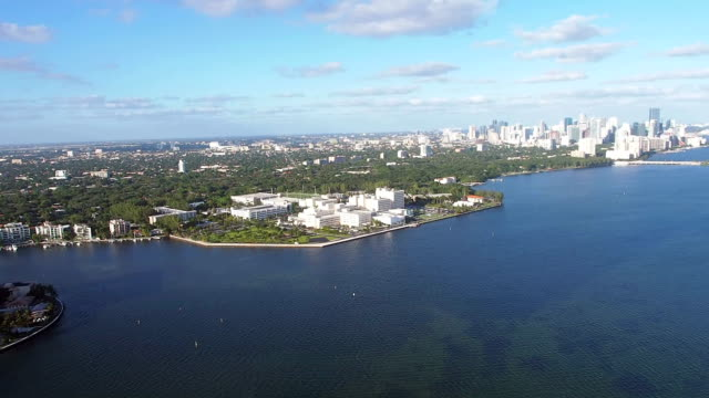 helicopter ride over buiscayne bay, viascaya and coconut grove - grove stock videos & royalty-free footage