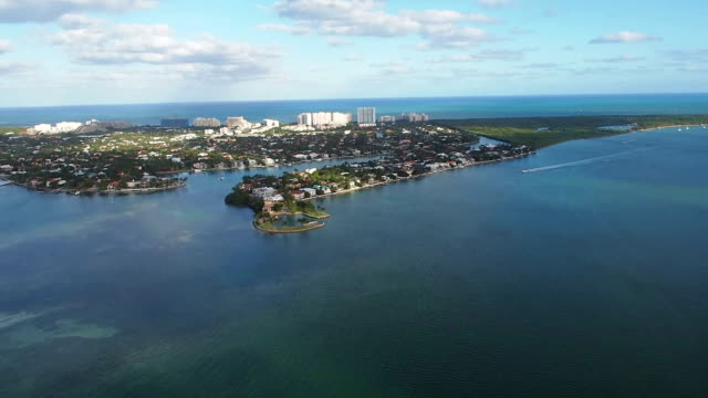 helicopter ride over key biscayne - biscayne bay stock videos and b-roll footage