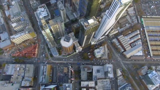 A helicopter shot flying over new apartment development in Melbourne's Central Business District.