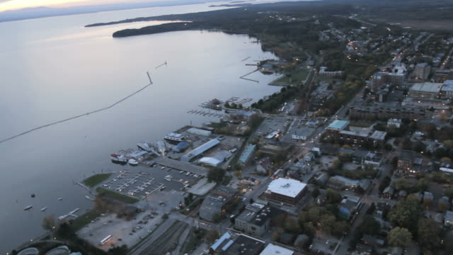 Helicopter shot of Lake Champlain and downtown Burlington, VT.