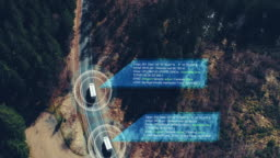 Helicopter shot of self Driving trucks driving on a forest highway with technology assistant tracking information, showing details. Visual effects clip