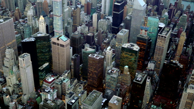 helicopter shot overlooking new york city real estate landmark - real estate stock videos & royalty-free footage