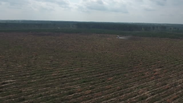 helicopter spraying in field tracking and follow - drone aerial 4k air to air filming of aerobatic helicopter spraying pesticide and insecticide on crops and trees for the production of various agriculture needs 4k transportation - crop sprayer stock videos and b-roll footage